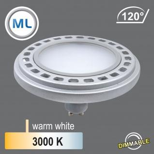 Qpar111 LED dimmbar Leuchtmittel 12W GU10 3000K Warmweiss 230V 900lm Chrom Matt Raumlicht 120° Abstrahlwinkel - ersetzt 90W Halogen