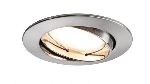 Paulmann 927.77 Premium Einbauleuchte Set Coin satiniert rund schwenkbar LED 1x6, 8W 2700K 230V 51mm Eisen gebürstet/Alu Zink