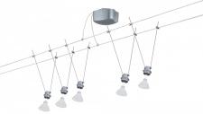 940.01 Paulmann Seil Komplett Set Wire DecoSystems Basis 100 5x20W GU5, 3 Chrom matt 230/12V 100VA Metall