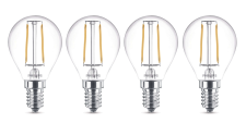 4-er Set Philips 8718696517611 E14 LED Filament Leuchtmittel 2, 3W ~ 25W WW Warm Tropfen