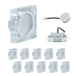 10 x LED Einbauleuchte Quadro inkl. 5W 3000K 230V Modul flache Einbautiefe 35mm Klar/Glas