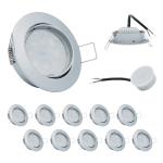 10x LED Einbauleuchte Set Chrom matt 5W 3000K 230V Modul flache Einbautiefe 35mm