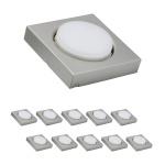 10 x LED Möbelleuchten Möbel ABL eckig Disc 5W 3000K 230V GX53 Eisen gebürstet/Metall