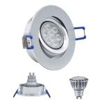 LED Einbauleuchte 4134 Alu GU10 8W 2700K 230V Dimmbar Komplett Set