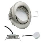 LED Einbauleuchte Eisen Gebürstet 5W 3000K 230V Modul flache Einbautiefe 35mm