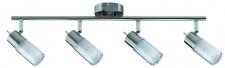 600.83 Paulmann Deckenleuchten Spotlights Zygla Stange 4x7W GU10 230V Eisen gebürstet Metall/Glas