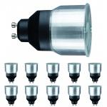 10er Set Paulmann GU10 Fassung 88218 ESL Reflektorlampe 9W GU10 Short neck Tageslichtweiß