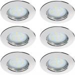 LED 6x3W Einbauspots Einbaleuchten GU10 2700K 100° Warmweiss Set Chrom/Stahlblech