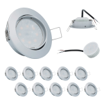 10x LED Einbauleuchte Set Chrom matt 5W 4000K 230V Modul flache Einbautiefe 35mm