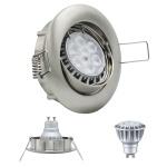 LED Einbauleuchte Eisen Gebürstet GU10 8W 2700K 230V Dimmbar Komplett Set