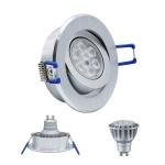 LED Einbauleuchte 4135 Alu GU10 8W 2700K 230V Dimmbar Komplett Set