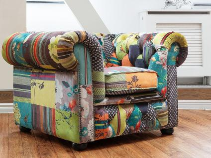 Sessel Patchwork Gelb - Ohrensessel - Relaxsessel - Fernsehsessel - CHESTERFIELD