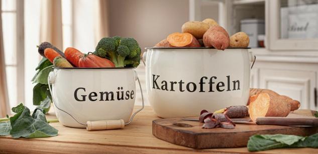 "2 Metall Töpfe "" Kartoffeln & Gemüse"" mit Henkel, Lager Transport Korb Eimer"