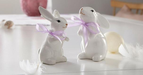 2 Deko Hasen aus Porzellan, weiß lackiert, mit Satin Schleife, Oster Dekoration - Vorschau 1