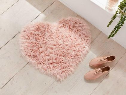 rosa Boden Matte in Herz Form, Bad Bett Vorleger, Kuschel Fell Fuss Teppich