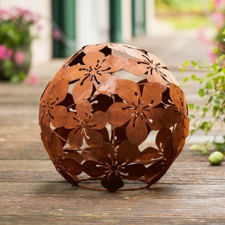 "Metall Deko Kugel "" Blumen"" Ø 24 cm, Shabby Blüten Objekt im Rost Design, Vintage"