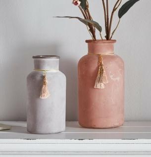 2er Set Retro Vintage Glas Vase 16 & 20 cm klein matt Shabby Blumen Tisch Objekt