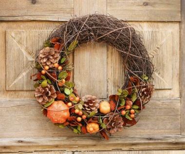"Tür Kranz "" Herbstdeko"" Reisig mit Zapfen Kürbissen Beeren Blüten, Herbst Deko"
