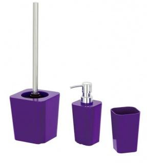 3tlg. WENKO BAD SET Candy purple lila WC GARNITUR SEIFENSPENDER ZAHNPUTZBECHER