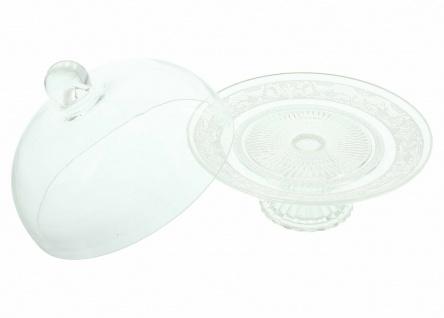 """Servier Platte """" Kristall"""" mit Glocke & Fuß, 20x19 cm, Speise Glocke Glas Haube - Vorschau 3"""