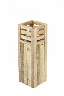 """Windlicht Säule """" Wood"""" aus Holz + Glas, groß, 60 cm hoch, Kerzen Ständer Halter"""