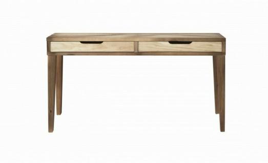 Design Schreibtisch aus Massiv Holz, 2 Schubladen, Büro Computer Arbeits Tisch