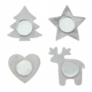 4er Teelicht Halter 'Winter? Metall Kerzen Ständer Windlicht Weihnachten - Vorschau 2