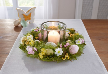 Osterkranz Frühlingswiese Ø 32 cm Deko Kranz Ostern Blumen Kerzen Halter Ständer