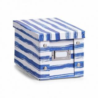 """2x Zeller Aufbewahrung Box mit Deckel """" Blue Stripes"""" für 20 CD Kiste Karton Case"""