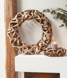 Deko Kranz aus Rattan groß, Ø 60 cm, natur, Holz Tisch Fenster Wand Tür Schmuck