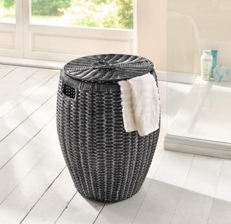 Wäschekorb aus Polyrattan, anthrazit / weiß, Wäsche Sammler Box Truhe Tonne Sack