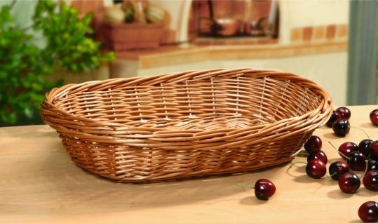 große Schale aus Weide oval, 40x29 cm, Obst Brot Servier Deko Aufbewahrungs Korb