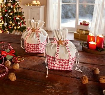 """2 Geschenk Beutel """" Merry Christmas"""" rot weiß Stoff Tasche Weihnacht Präsent"""