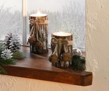 """2 Teelicht Halter """" Winterglöcken"""" aus Holz, Baumstamm Weihnachten Windlicht Set"""