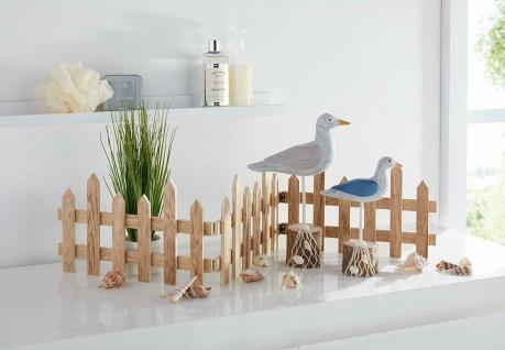 2er Set Möwen auf Poller aus Holz, Deko Figur maritim mit Fischernetz & Muscheln