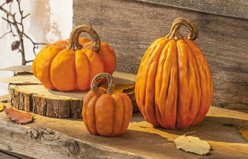 "3 Deko Kürbisse "" Orange"" Detail getreu, Herbst Halloween Kürbis Figur"