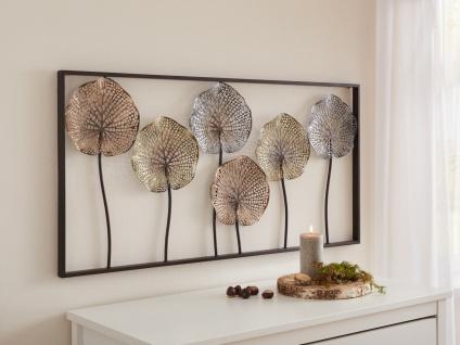 """3D Wand Bild """" Lotus"""" aus Metall, 100x50 cm, Wand Schmuck Deko Verzierung Blumen"""
