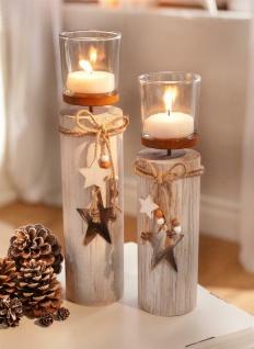 """2x Windlicht Säule """" Shabby"""" Holz & Glas, Teelicht Halter Weihnachts Advents Deko"""
