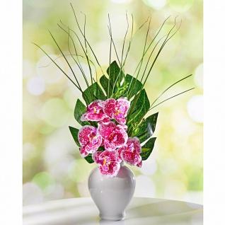 """Blumen Bouquet """" Orchidee"""" rosa mit Gräsern, Kunst Zier Strauß künstlich Deko"""