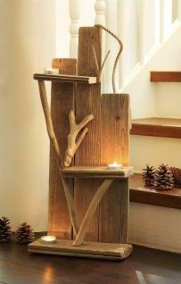 Wand Bild aus Treibholz, 3 Glas Windlichter, Teelicht Halter, Holz Deko Objekt
