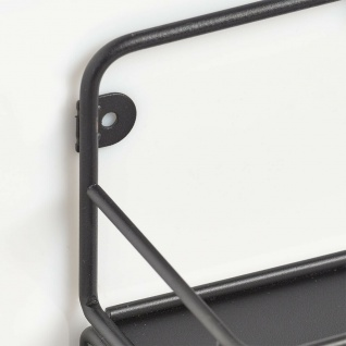 Wand Garderobe aus Metall schwarz, 5 Haken + Ablage, Flur Kleider Halter Leiste - Vorschau 3