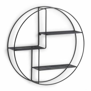 Zeller Design Wand Regal, rund, aus Metall, schwarz, 3 Ebenen, Bad Küchen Gewürz