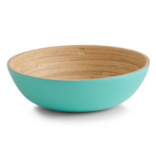 4x Zeller Salat Schale aus Bambus, aqua, Holz Servier Obst Schüssel Bamboo