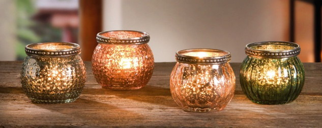 "4er Set Windlicht "" Colors"" Glas & Metall Teelicht- & Kerzen Halter, orientalisch"