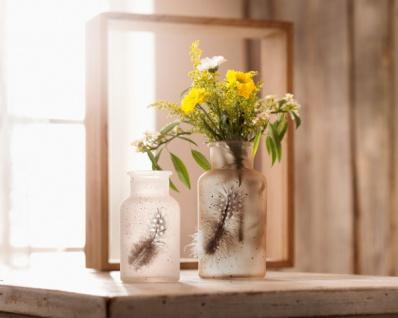 2er Deko Vase 'Feder? aus Holz Glas Tisch Blumen Stehvase Objekt