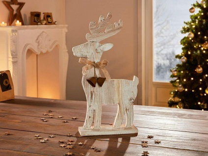 """Figur """" Rentier"""" Treibholz mit 2 Metall Glöckchen, Holz Weihnachts Deko Hirsch"""