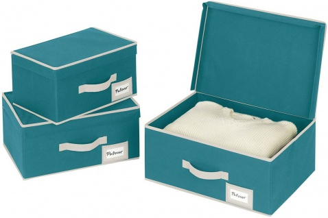 """Stoff Aufbewahrungs Box """" Breeze S"""" petrol, Regal Kleider Schrank Ordnungs Kiste - Vorschau 4"""