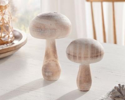 """2 Pilze """" Pur"""" aus Holz, weiß gekalkt, 10 + 13 cm hoch, Herbst Deko Figur Set"""
