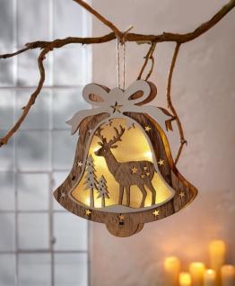 LED Hänger 'Glocke? aus Holz Stimmungslicht Hängelampe Leuchte Lampe Weihnachten