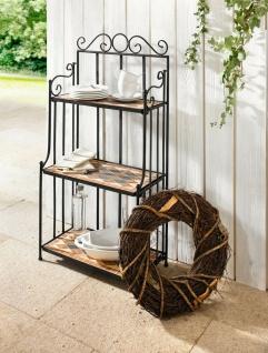 Metall Regal mit 3 Böden aus Stein Mosaik, Antik Pflanz Garten Bad Küchen Treppe